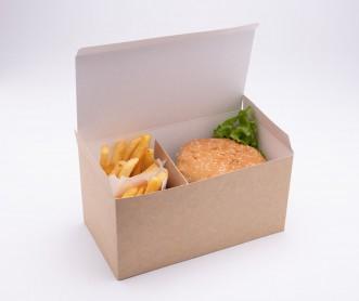 Opakowanie kurczak box wysoki z wkładką rozdzielająca składniki 220x120x110 (400 szt.)